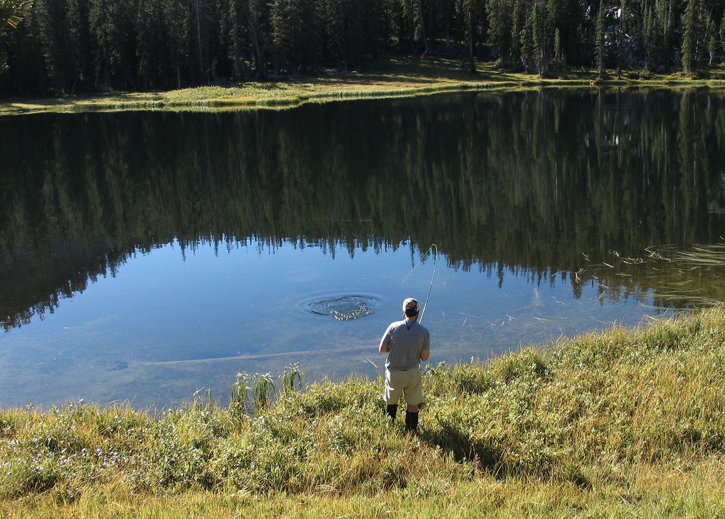 A quiet moment for conservation advocate Oppenheimer at the Casino Lakes in Idaho's Sawtooth National Recreation Area. JOHN MCCARTHY