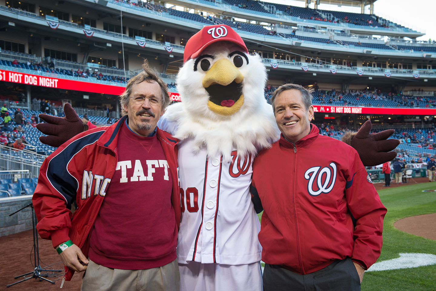 John Taft '72 and his brother, Hugh Taft Morales '75 at Nationals Stadium in Washington, D.C., where they presented the Nationals William Howard Taft