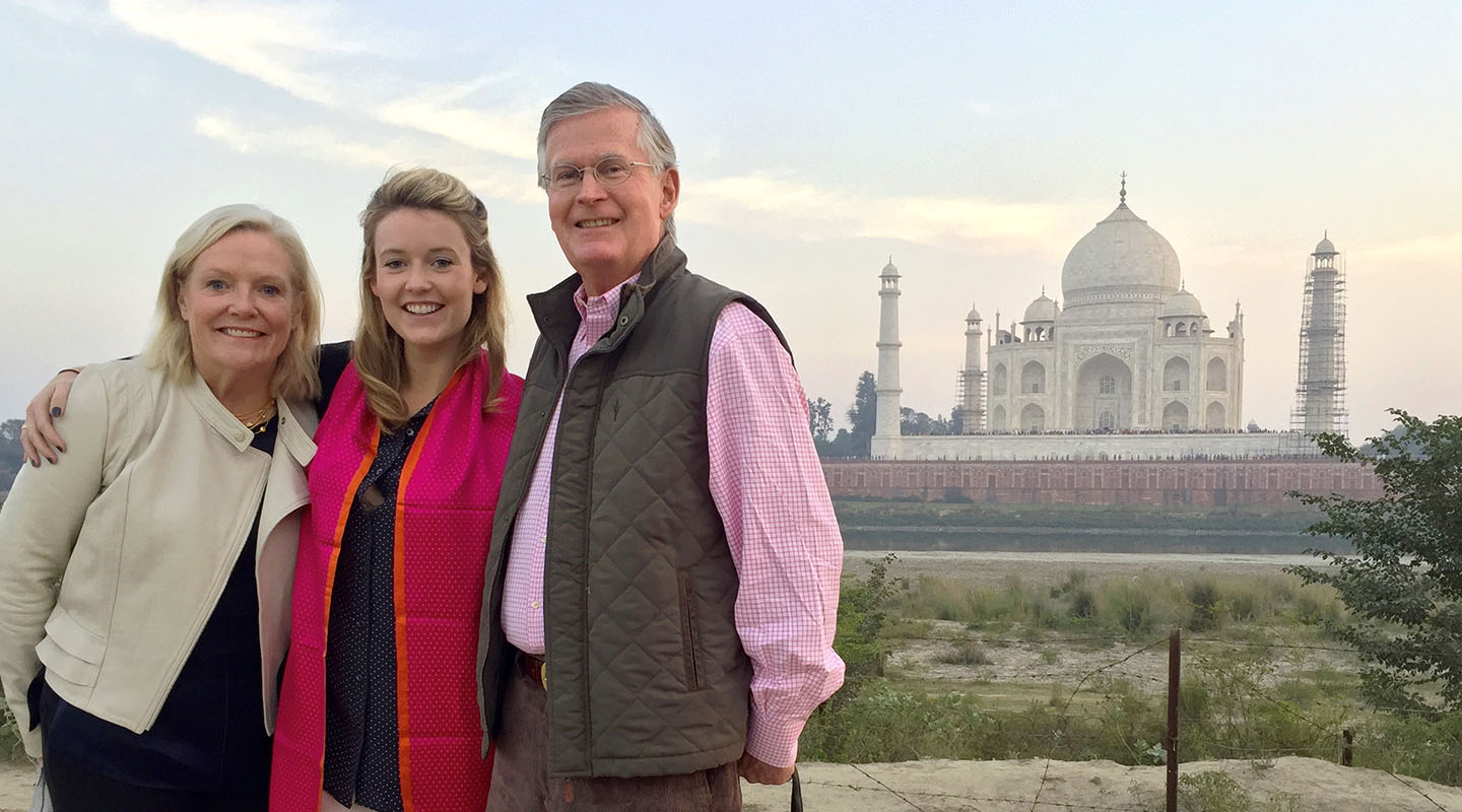 Leslie Herrlinger Lanahan '73 with daughter Lily '08 and husband Michael at the Taj Mahal in Agra, India.