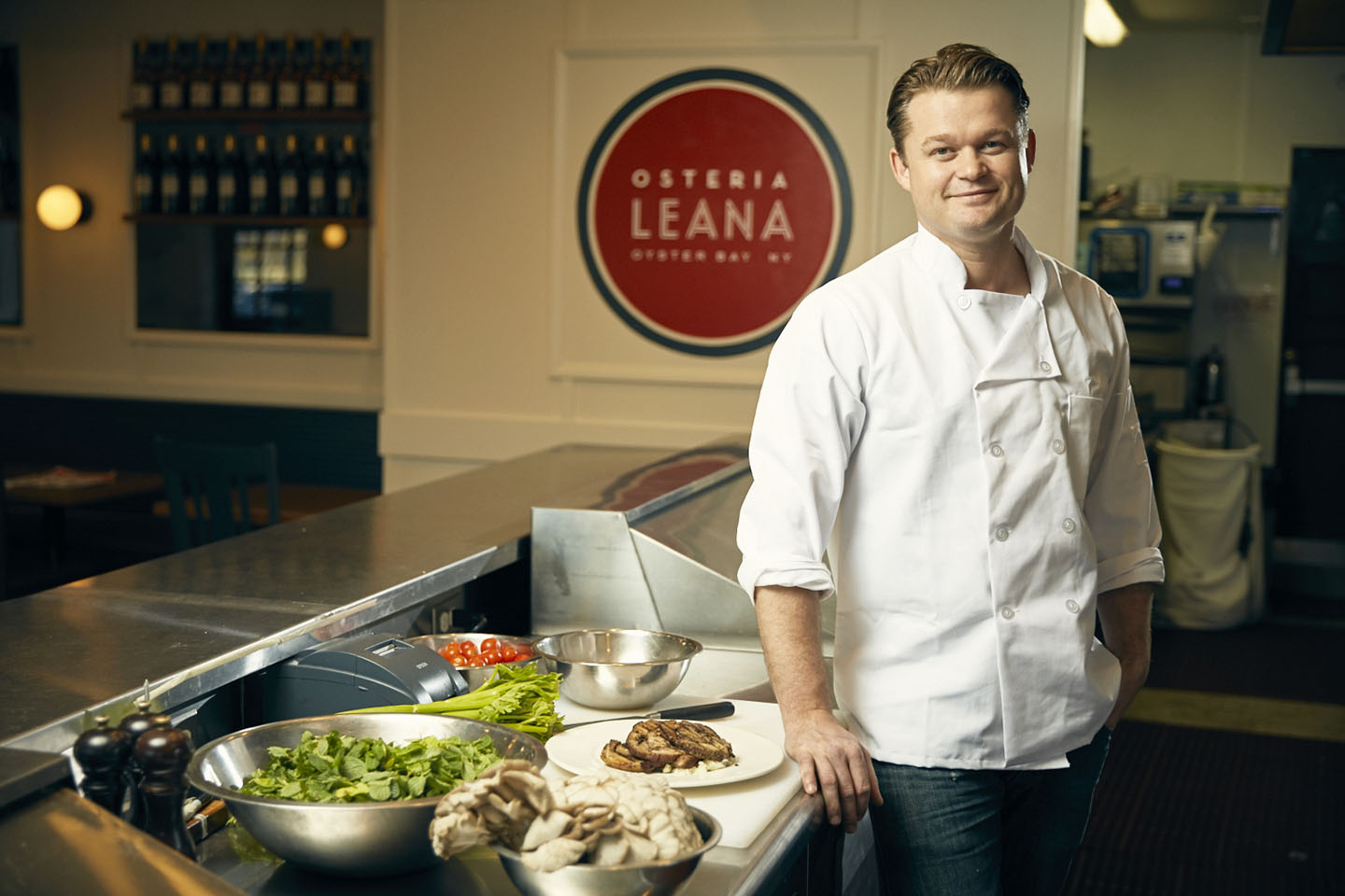Peter Van Der Mije '98, chef and owner of Osteria Leana, in Oyster Bay, New York. MATT FURMAN