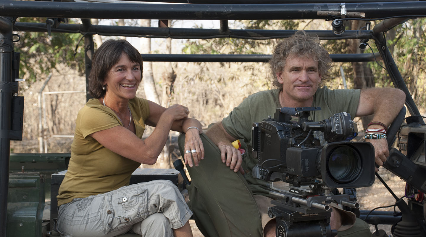 Poole and her brother, Bob, prepare to film for National Geographic during her first field trip to Gorongosa National Park, Mozambique. NATIONAL GEOGRAPHIC, 2011