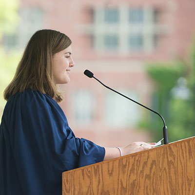 Class speaker Lauren Fadiman '17, who received the revered Aurelian Award for 'sterling character, high scholarship, and forceful leadership,' along with five other awards.