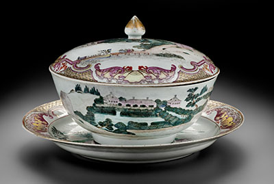 Covered punch bowl and stand with a depiction of the Chinese pavilion at Drottningholm, 1762–63, artists in Jingdezhen, China, porcelain. Peabody Essex Museum purchase, 1999. PEABODY ESSEX MUSEUM, DENNISH HELMAR