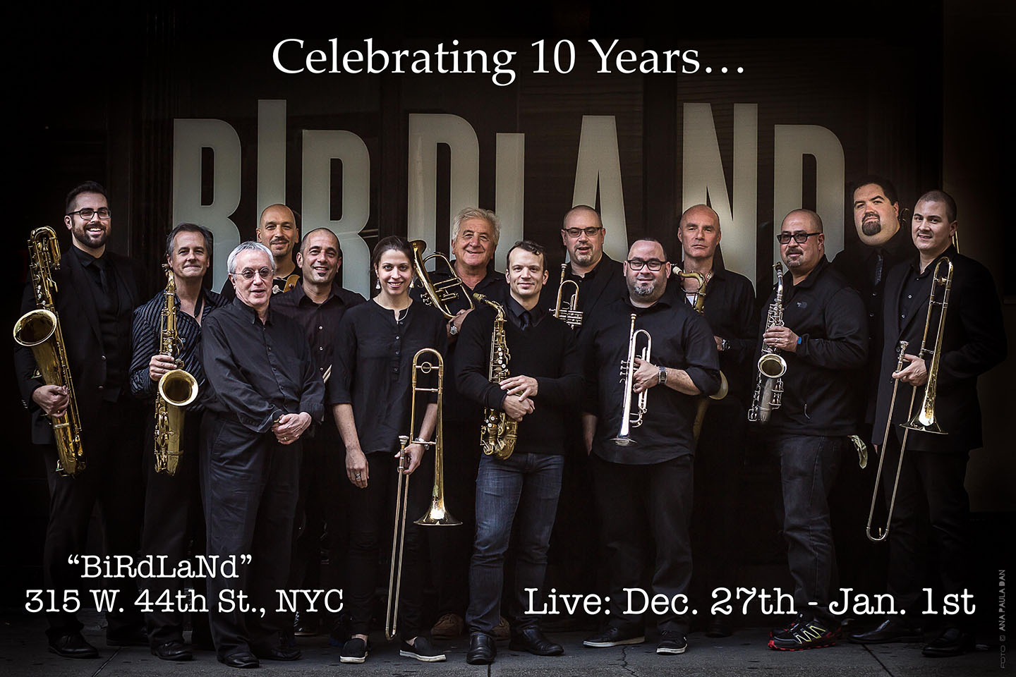 A promo for the Birdland Big Band, which Sara Jacovino '01 plays in at the legendary NYC jazz club.