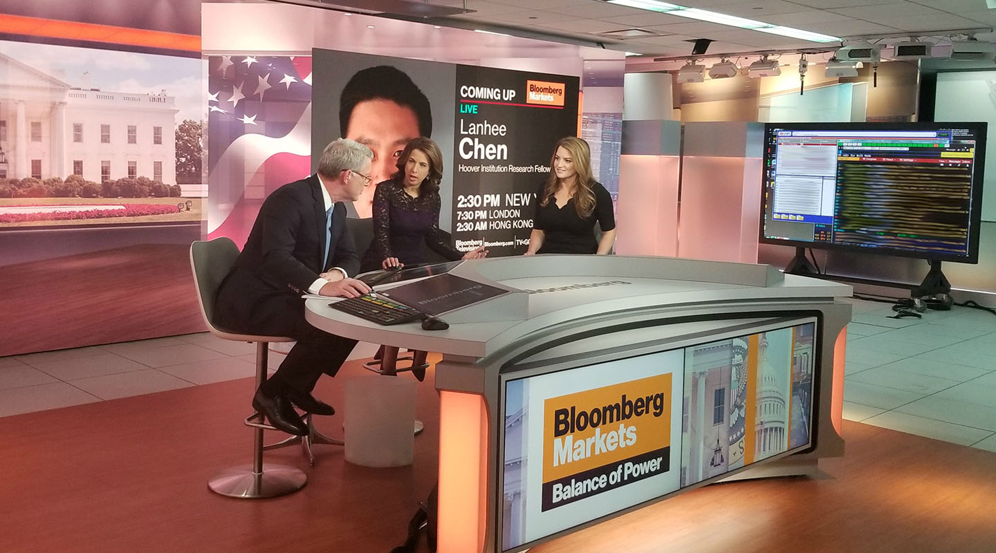Financial reporter Simone Foxman '07 (far right) during a Bloomberg TV broadcast with Julie Hyman and David Westin.