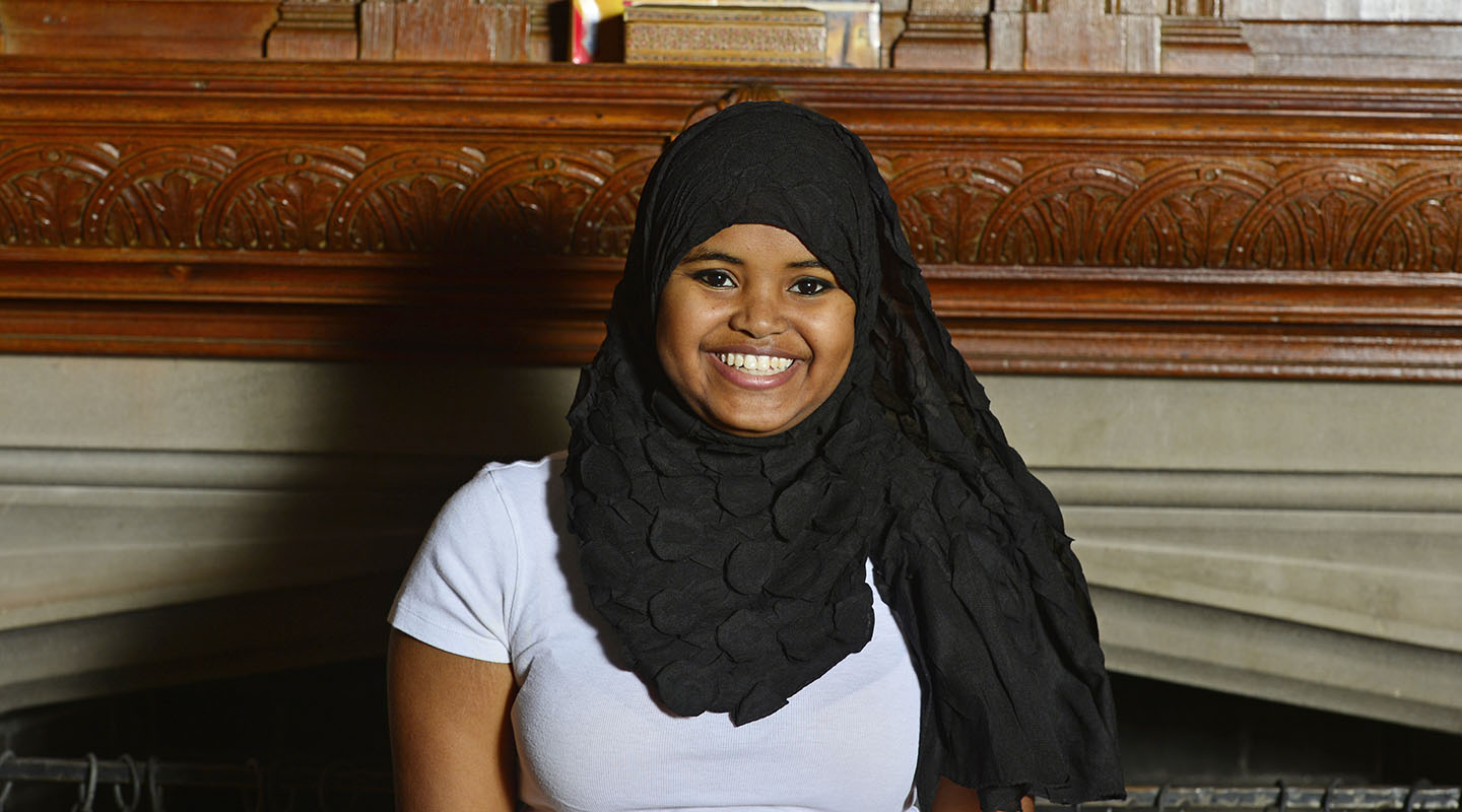 "Naima Caydiid '15 Westminster College '19 (Somaliland) ""Growing up in Somaliland, my future was already determined for me. I was told many, many times the role of a woman in our society is to become a mother and a wife. I would come to conclude that Somaliland is the land of no opportunity for women like me who have ambitious dreams. Somaliland is a male-dominated society, and I felt almost invisible. The Davis Scholarship granted me a life-changing opportunity to attend the Taft School and Westminster College. Both schools encourage me to step out of my comfort zone and take leadership roles. As a Davis Scholar I have learned that meeting people and building relationships with them are important. Perhaps the best thing I've learned from these leadership roles is that working on a team brings out the best in me. I am majoring in biochemistry with a minor in public health. I plan to give back to my community by building a women's hospital with my sisters who are in medical school."""
