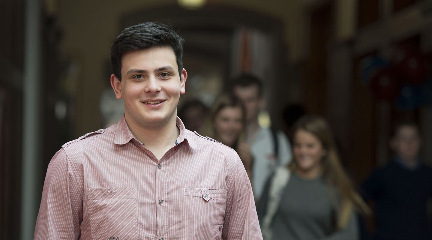 "Nick Morgoshia '17 Bates '21 (Georgia) ""I have been able to learn from the world at large: by arguing partisan politics on the pages of student newspapers like Taft's Papyrus and Global Journal; by serving on nonprofit boards like the Red Rhino Fund to help those less fortunate than me; and by working with street kids in forgotten neighborhoods of India and the Dominican Republic through Page and Poole grants that I received at Taft. Coming from a poor country in Eastern Europe, the Davis Scholarship has shown me that education is the most potent antidote to the circumstances of birth."""