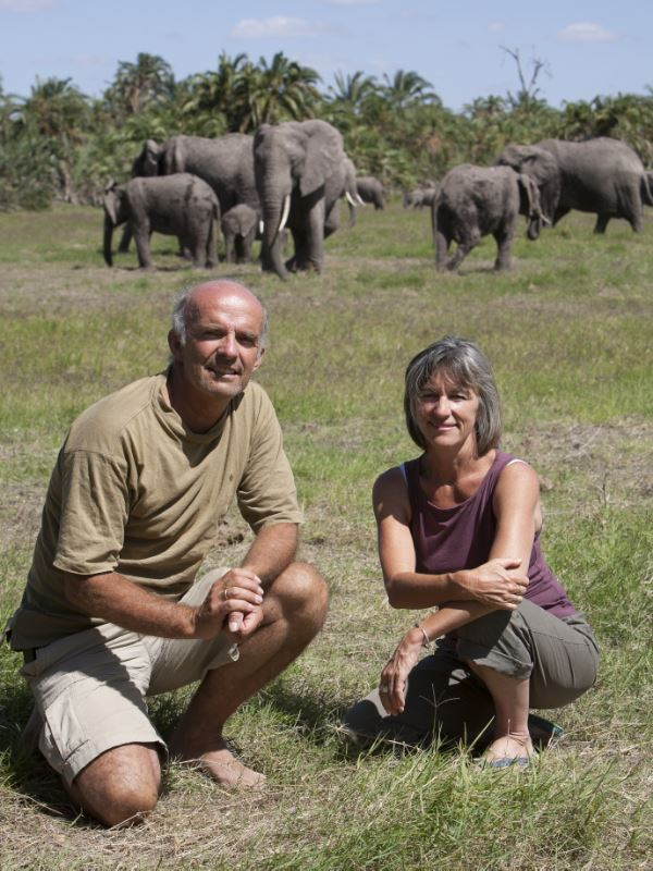 Joyce with her husband, Petter Granli, at the Amboseli Elephant Research Camp, where, for many years, home was a tent. Credit: Martyn Colbeck