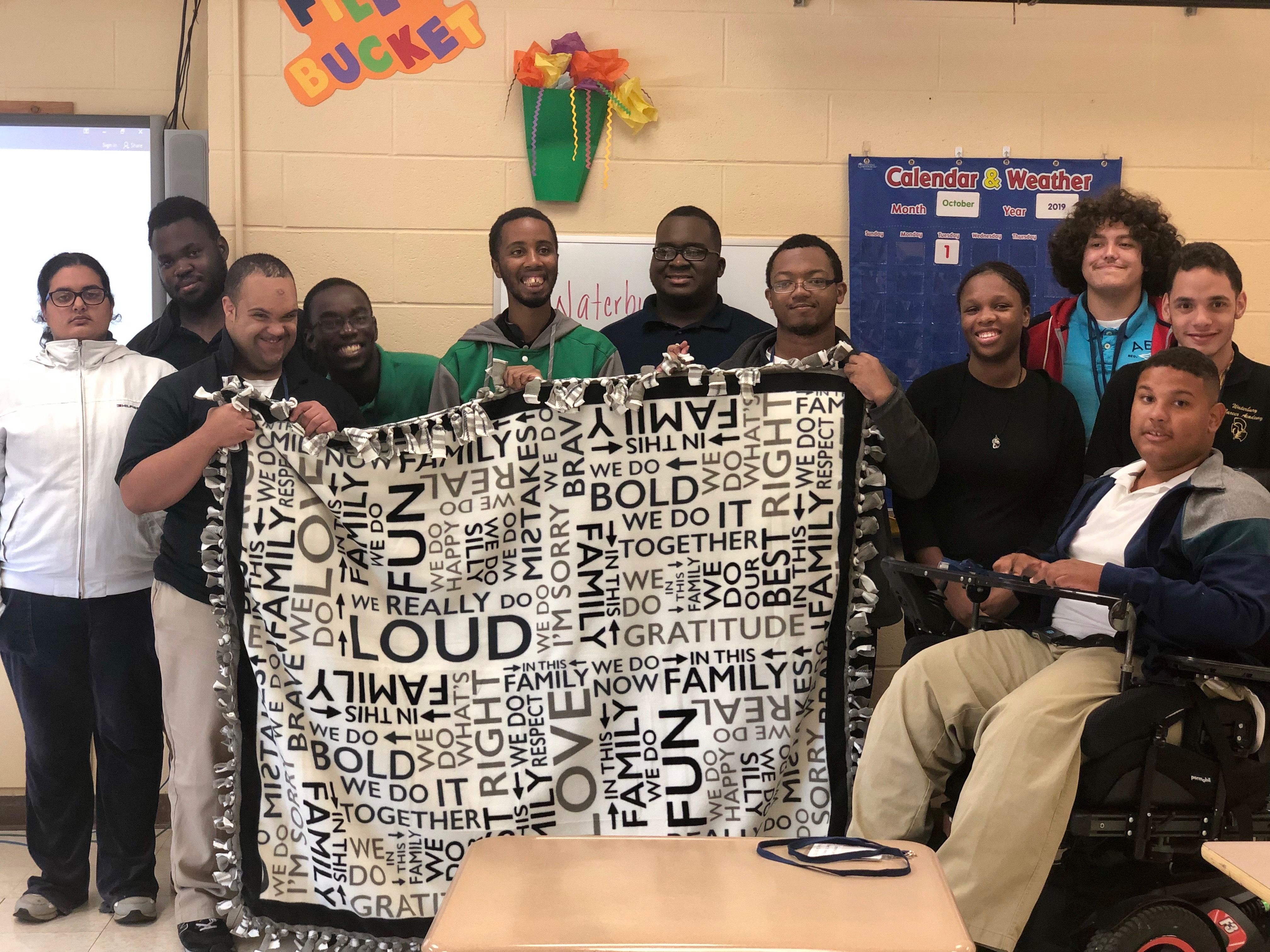 Students at Waterbury's Kennedy High made and donated blankets.