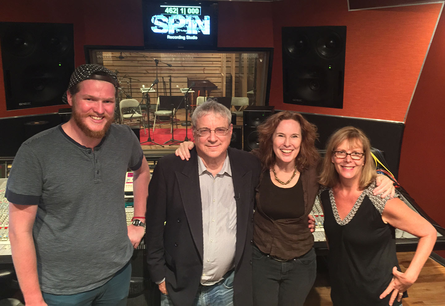Alex Forbes '76 (second from right) at a recording session for a song she co-wrote and pro - duced—the  theme song for the Nonhuman Rights Project. Its founder Steven Wise, second from  left, is the subject of the HBO documentary  Unlocking the Cage,  about the legal rights of animals,  by filmmakers Chris Hegedus, far right, and DA Pennebaker.