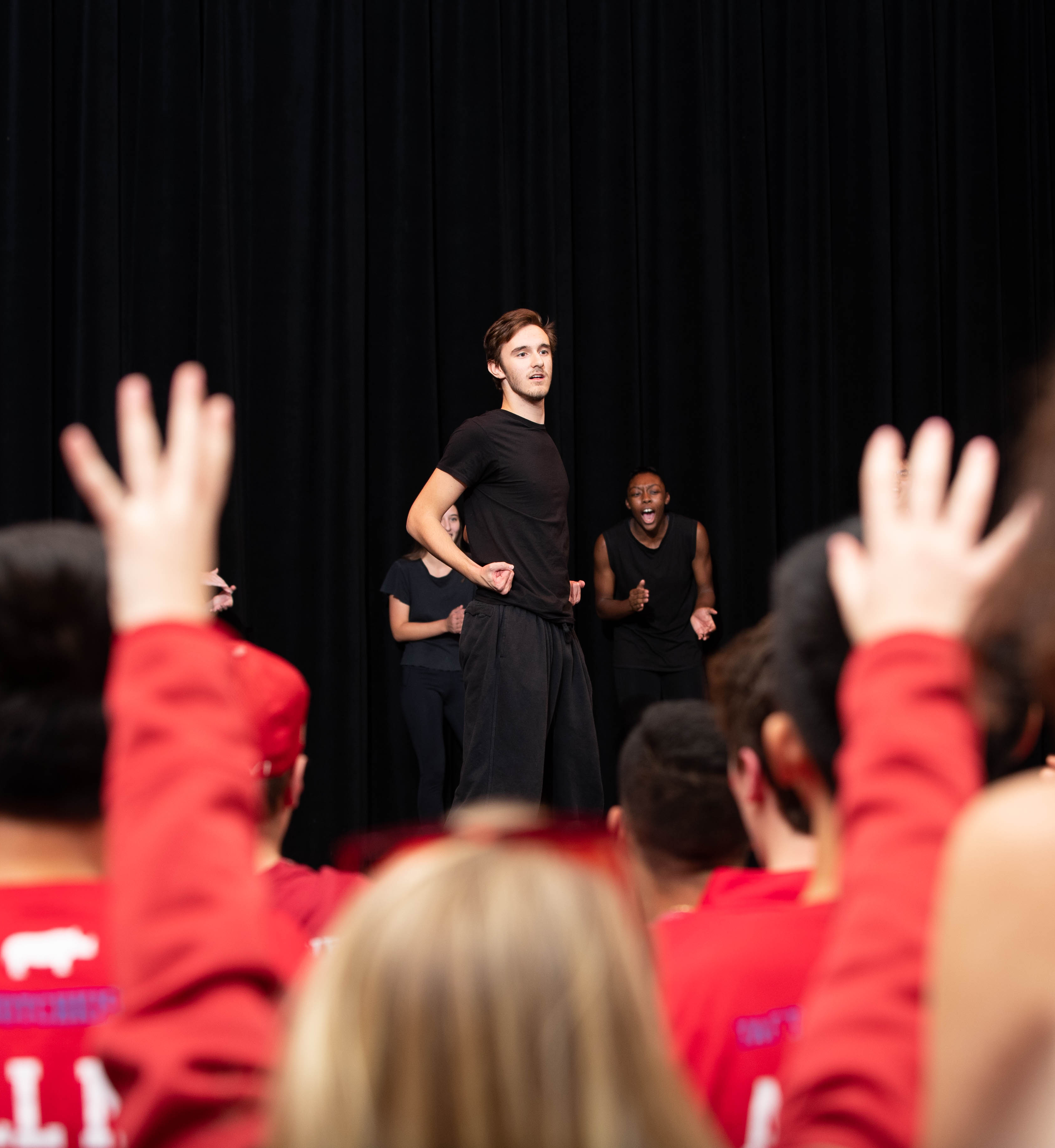 Nick bring the crowd to their feet during a Step Team performance