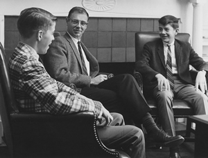 John Esty with students in the late 1960s