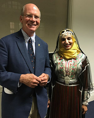 Morris in London with QLF alumna Aida Al Jbour, from Oman, who spoke to the Royal Geographical Society about conservation efforts in her home country
