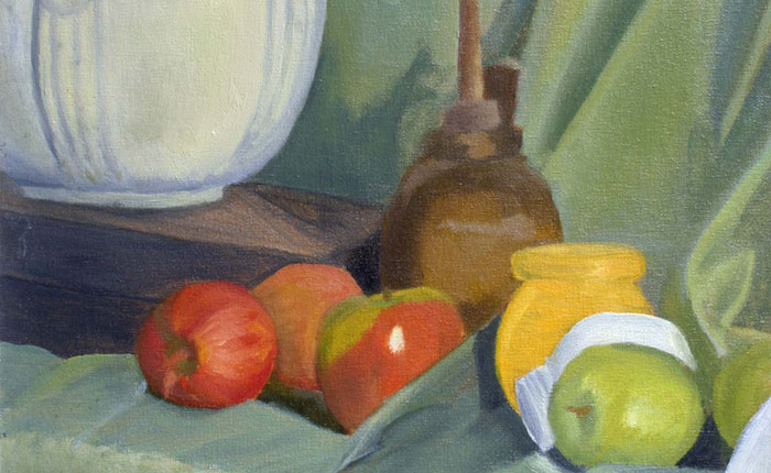 Sample student painting of still life with fruit and jars