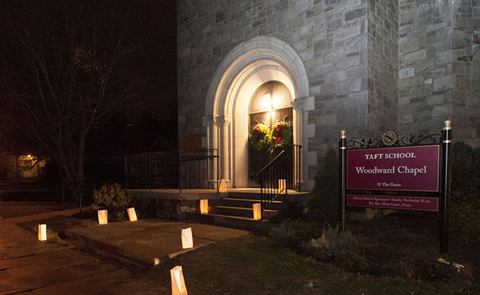 Outside view of entrance of Woodward Chapel during Lessons & Carols performance
