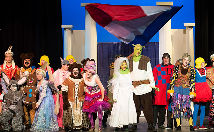 A scene from a student performance of Shrek