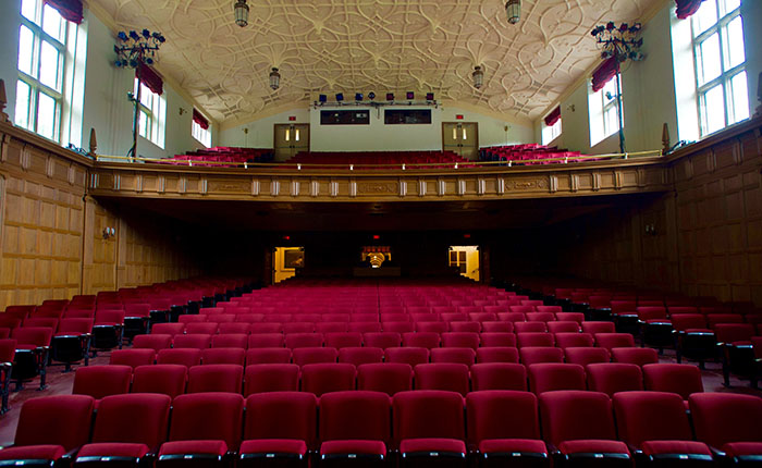 A view of an empty Bingham Auditorium after its renovation
