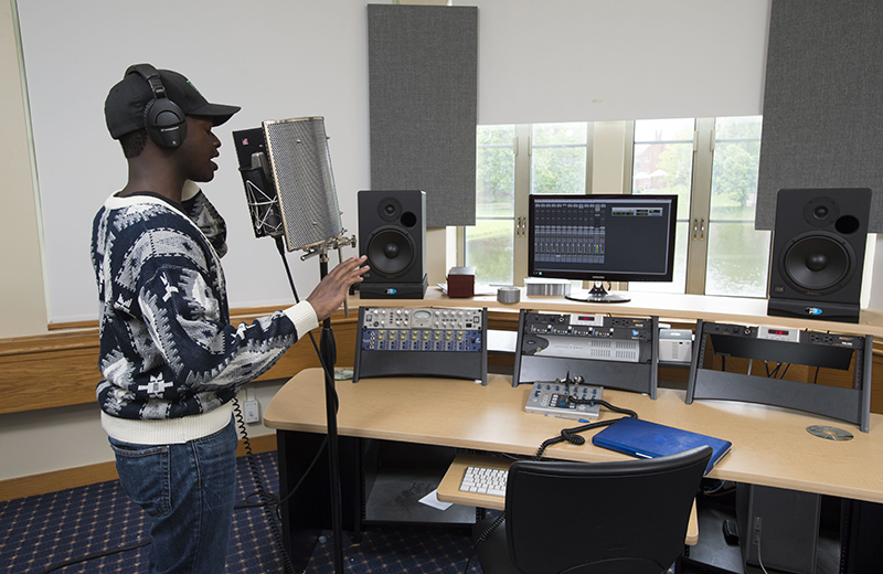 A student records a song in the Bristol Music Room